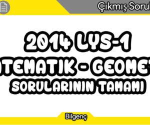 2014 LYS-1 (Matematik-Geometri) Sorularının Tamamı