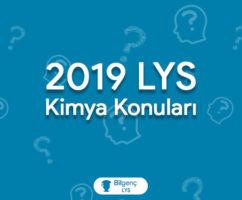 2019 LYS Kimya Konuları ve Soru Dağılımları (ÖSYM)