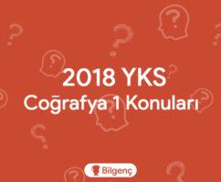 2019 YKS Coğrafya 1 Konuları ve Soru Dağılımları (ÖSYM)